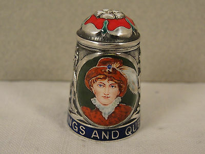 Peter Swingler Silver & Enamel THIMBLE: QUEEN CAROLINE. Kings & Queens Series