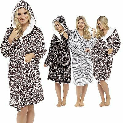 WOMEN\'S ANIMAL PRINT Fleece Robe, Plush Hooded Dressing Gown, Size 8 ...