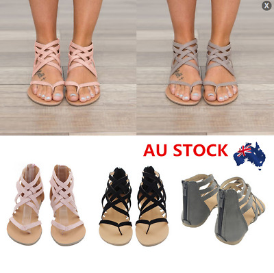 AU Women Gladiator Summer Strappy Flat Sandals Back Zipper Beach Slipper Shoes