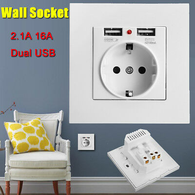 2.1A 16A Dual USB Ports Wall Charger Power Adapter Socket Outlet Panel EU Plug