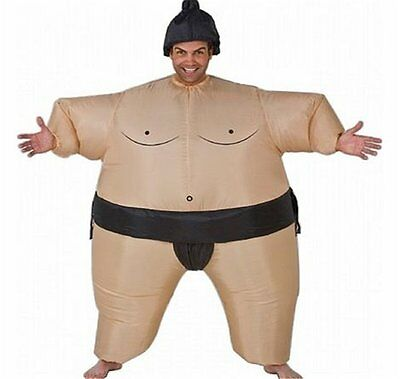 Self Inflating Sumo Wrestler Suit Inflatable Fancy Dress Outfit Stag Costume