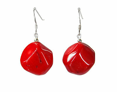 Gorgeous red Earrings in real Bamboo coral in Nugget form 925 Silver