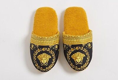 Versace Baroque Medusa Bath Slippers 1 Pair - Size L - Black Gold