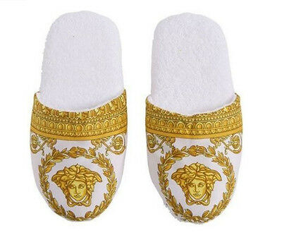 Versace Baroque Medusa Bath Slippers 1 Pair - Size L - White Gold