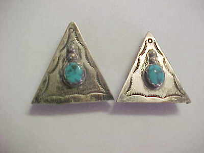 Set Of Silver & Turquoise Collar Tips