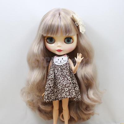 Cute Floral Sleeveless Dress+ Hairpin for 12'' Blythe Doll Clothes Chocolate