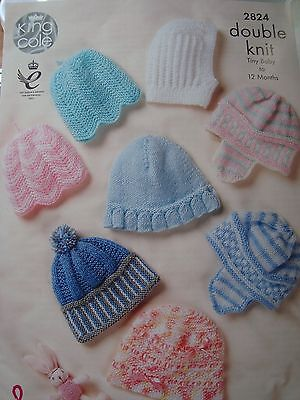 King Cole 2824 Babies Hats in DK  Knitting Pattern Tiny Baby - 12 Months