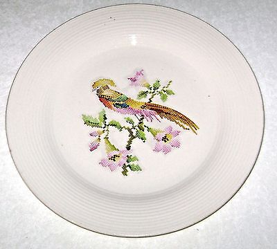 Vintage Chinese Pheasant Petitpoint Chop Plate Leigh Pottery Alliance Ohio