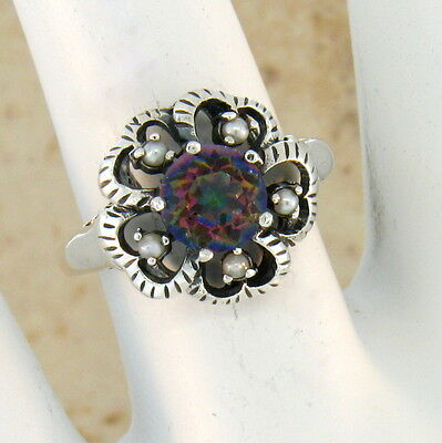 Mystic Sim Quartz Pearl Antique Victorian Style .925 Sterling Silver Ring,   #49