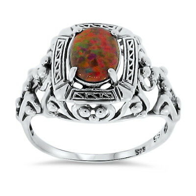 Red Opal Lab Antique Victorian Design .925 Sterling Silver Ring,             #53