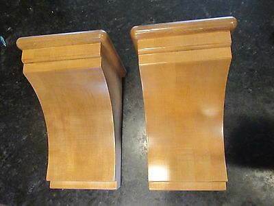 "Set of 2  Wood Corbel Maple Wood Cove Simple Pecan Finish 5 1/2"" x 9"" x 5"" deep"