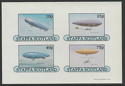 GB Locals - Staffa 5039 - 1981  AIRSHIPS  imperf sheetlet of 4 unmounted  mint