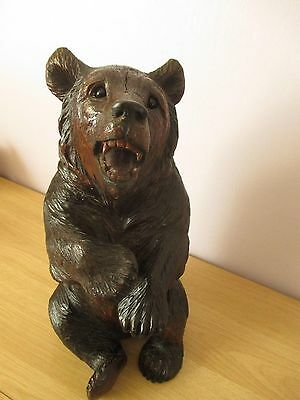 "Antique Large Quality 13.5"" Black Forest Sitting Bear Wood Carving Swiss"