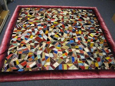 ANTIQUE VELVET SATIN SILK CRAZY QUILT w PRESIDENTS IN CENTER ~PERFECT CONDITION!