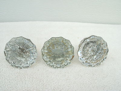 Vintage Glass Door Knobs--3 Single heads only --12 Pt--Clear Glass--Brass Collar