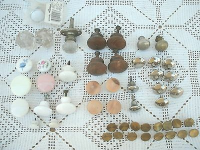 Vintage Lot 50- Drawer~ Cabinet Knobs-Pulls-Glass/Meta/Brass/Wood/Chrome ++