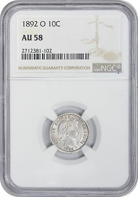 1892 O Barber Dime AU58 NGC Almost Uncirculated 58
