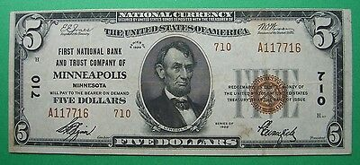 1929 $5. T2 FIRST NATIONAL BANK AND TRUST MINNEAPOLIS MINNESOTA MN Charter # 710