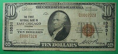 1929 $10 T1 First National Bank East Chicago Indiana In #13531 Dillinger Robbed