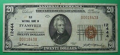 1929 $20. T1 OLD NATIONAL OF BANK EVANSVILLE INDIANA IN Charter # 12444