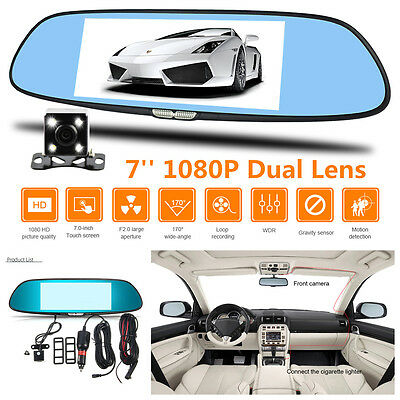 7''HD 1080P Touch Screen Dual Lens Car Dash Cam DVR Rearview Mirror Video Camera