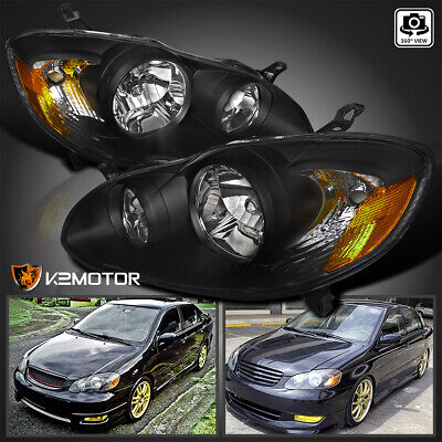For 2003 2008 Toyota Corolla Replacement Black Headlights Head Lamps Left Right
