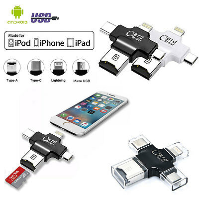 4 IN 1 Type C Memory Card Reader,USB 3.1 OTG Micro SD Adapter For iPhone iPad