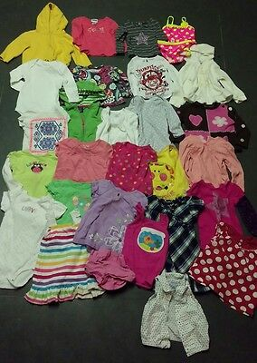 Bulk Lot of 18 Mo Girl's Clothing 29 Pieces Wholesale Hoodies Shirts Dresses