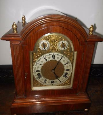 a large mahogany  lenzkirch westminster bracket clock on gongs c1900s