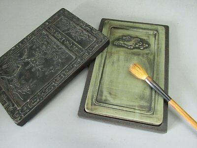 Excellent Chinese Duan Stone Carved Ink Slab / inkStone & Stone Case