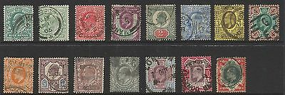 GREAT BRITAIN 1902/11  KING EDWARD VII SET (1/2d to 1/-), 15 x STAMPS, USED (o)