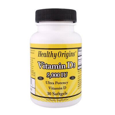 Healthy Origins - Vitamina D-3 - 5000 IU - 30 softgels - formato viaggi