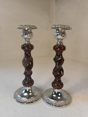 Vintage pair of Oak  Candlesticks  ref 3005