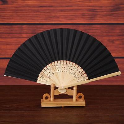 Pattern Folding Dance Wedding Party Lace Silk Folding Hand Held Solid Color Fan