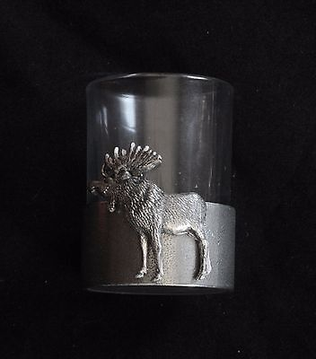 Moose Shot Glass Pewter Based Round 50ml Hunting Gift