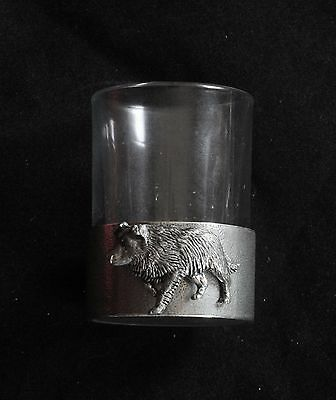 Sheepdog Shot Glass Pewter Based Round 50ml Farming Gift