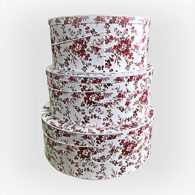 """SUPERSIZE ~ 20"""" ~ 22"""" ~ 24"""" Millinery VICTORIAN FLORAL Hatboxes ~ Stack of 3"""