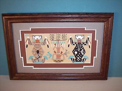 Navajo Framed Sand Painting w/ Mother Earth & Father Sky Figures, Gloria Nez NEW