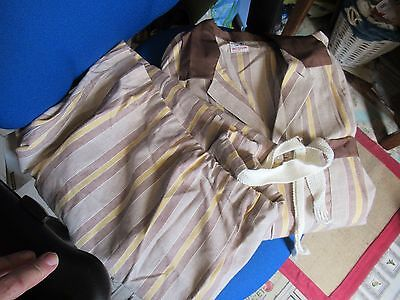 Mens Vintage WINCEYETTE Traditional Striped PYJAMAS, Brown/Yellow, Film/Prop