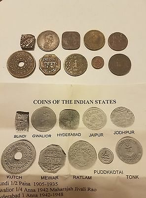 India Princely States copper coin set
