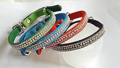 "Crystal & Pearl, Safety Elastic Cat Collar 8-11"", Blue, Black & Red"