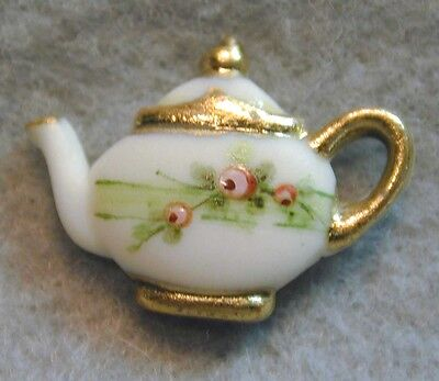 """Handcrafted Porcelain Button Realistic Shape Teapot  FREE US SHIPPING 7/8"""""""