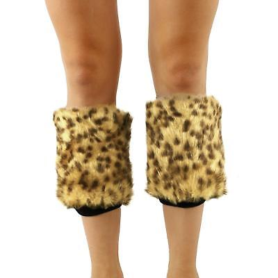 Winter Faux Fur Animall Pr Dance Ski Leg Warmer Boot Shoe Cover Elastic Leopard