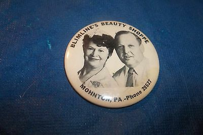 Vintage Advertising Picture Mirror Blimline's Beauty Shoppe Mohnton,pa