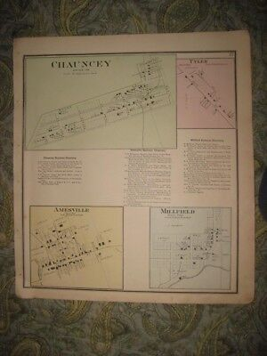 Antique 1875 Chauncey Amesville Millfield Tyler Athens County Ohio Handcolor Map