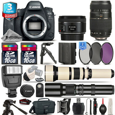 Canon EOS 6D Mark II Camera + 50mm 1.8 STM + 70-300mm + EXT BATT + 3yr Warranty