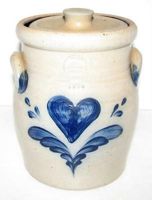 Handmade Rowe Pottery 1990 Salt-Glazed Heart Pattern Lidded Canister