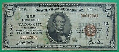 1929 $5. T1 DELTA NATIONAL BANK OF YAZOO CITY MISSISSIPPI MS Charter # 12587