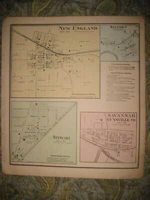 Antique 1875 New England Stewart Guysville Kilvert Athens County Ohio Map Rare
