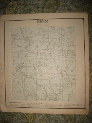 Antique 1875 Bern Township Federal Plantsville Athens County Ohio Handcolor Map